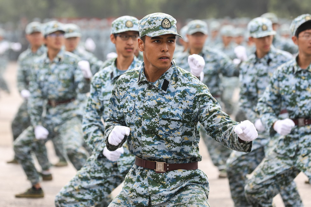 军体拳方阵在2017级军训闭营仪式汇报演出