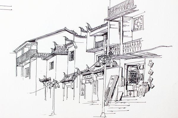 重庆吊脚楼矢量图